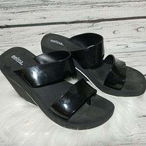 Melissa slip on jelly strap wedges size 9